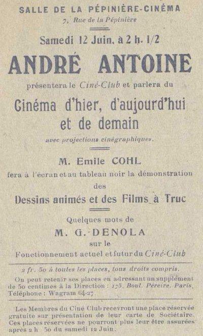 Publicité pour la conférence d'Emile Cohl