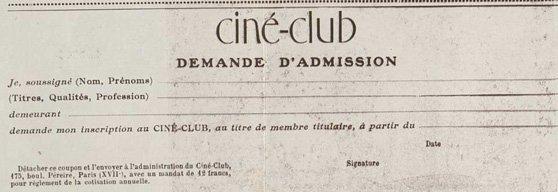 bulletin d'adhésion au Ciné-Club (1920)