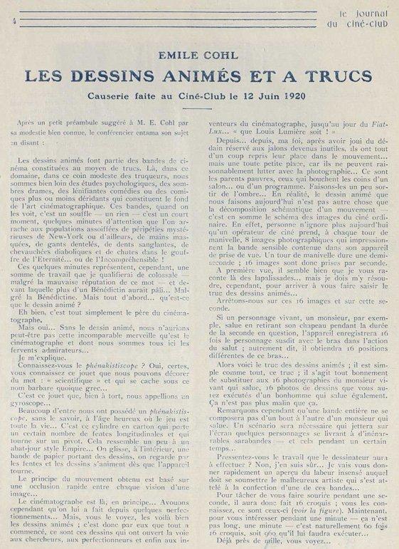 Conférence d'Emile Cohl dans Le Journal du Ciné-Club 1920