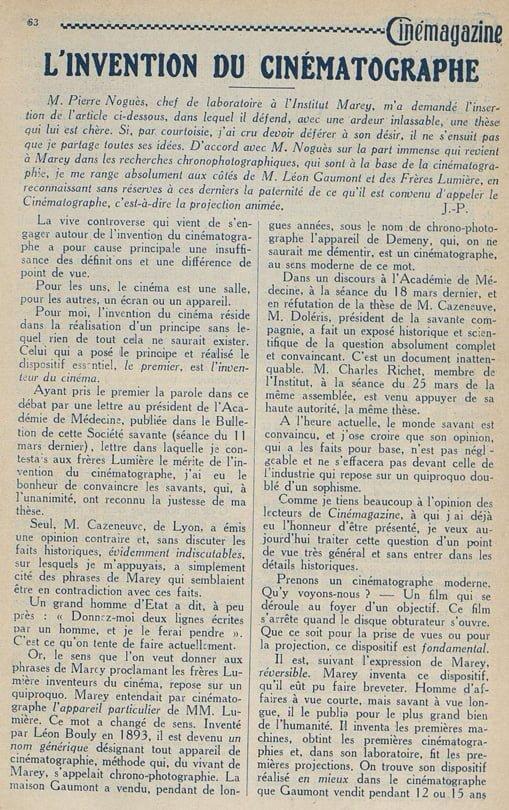 L'Invention du Cinématographe, texte de Pierre Noguès (Cinémagazine 1924)
