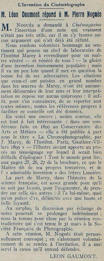 M. Léon Gaumont répond à M. Pierre Noguès