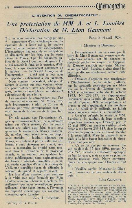 L'Invention du Cinématographe (IV)