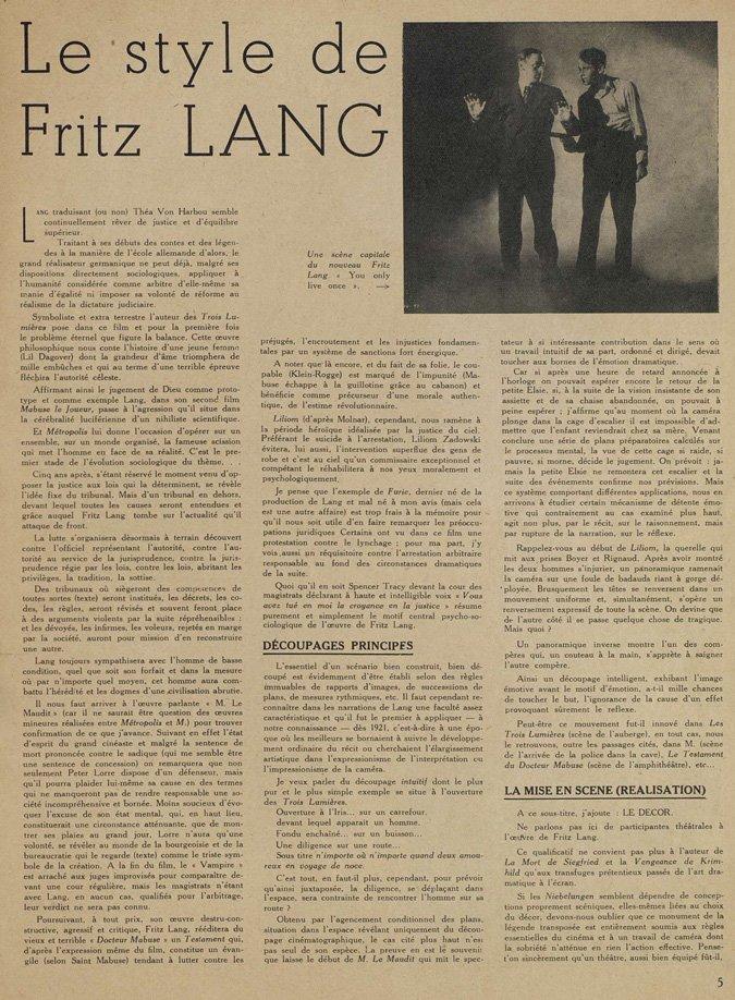 Fritz Lang par Franju (Cinématographe 1937)