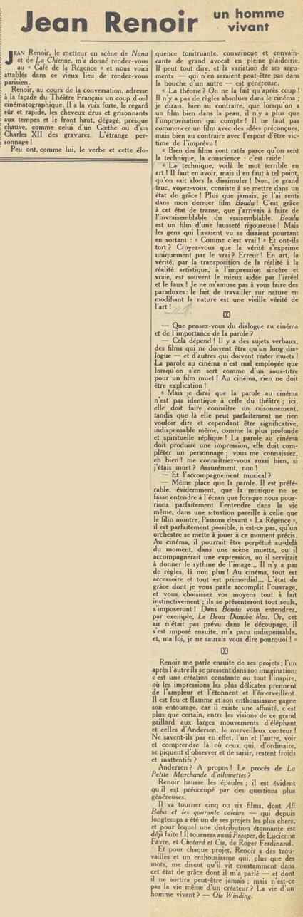 Jean Renoir, un bon vivant (Pour Vous 1932)
