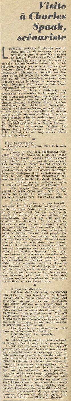 Charles Spaak, scénariste (Pour Vous 1936)