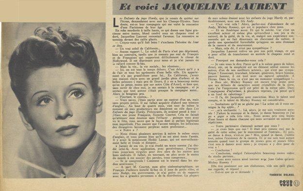 Article sur Jacqueline Laurent (Pour Vous 1939)