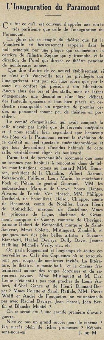 Cinémagazine du 2 décembre 1927