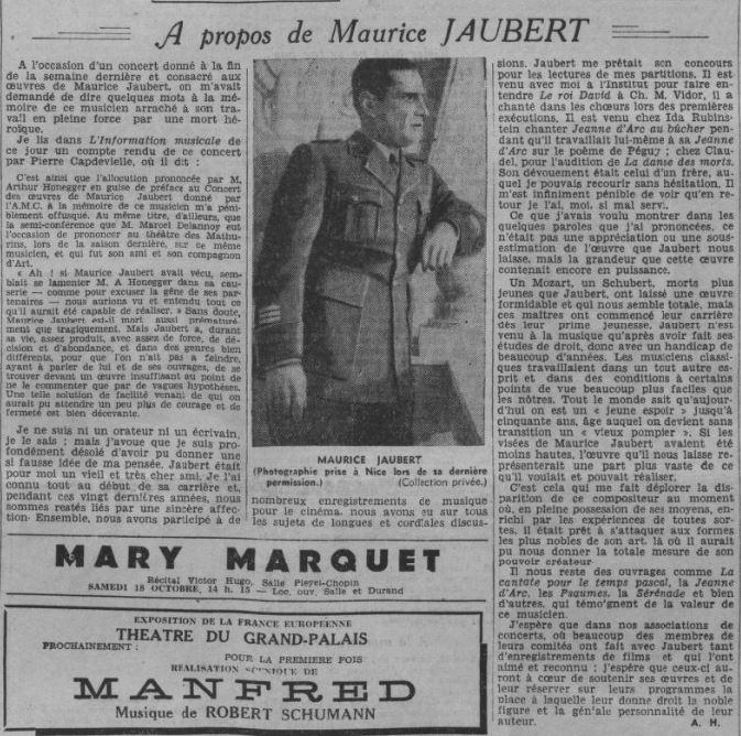 paru dans Comoedia du 11 octobre 1941
