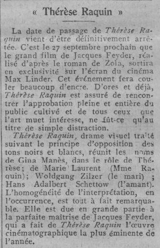 Encart pour la sortie au Max Linder de Thérèse Raquin (Comoedia-21 09 1928)