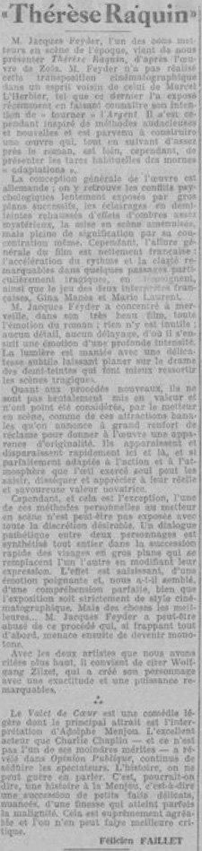 L'Homme Libre le 20 avril 1928