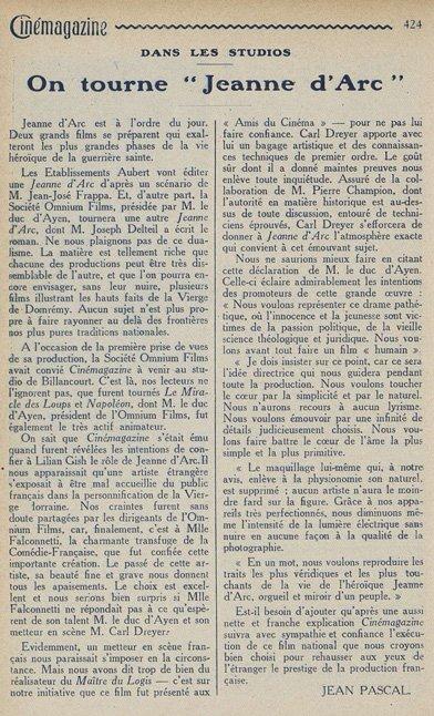 Cinémagazine du 27 mai 1927