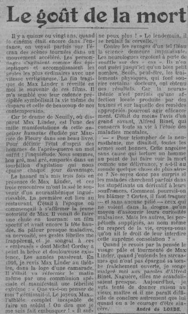 Paris Soir du 14 novembre 1925