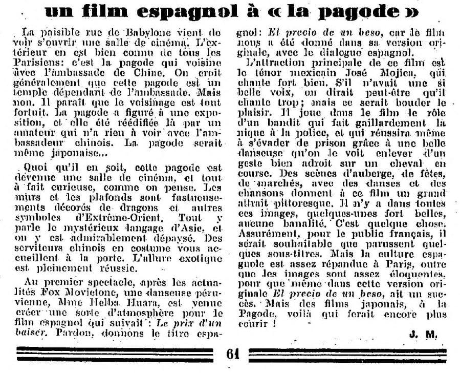 La Semaine à Paris du 13 mars 1931