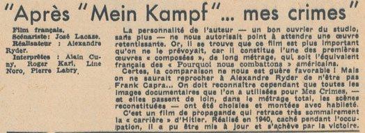 L'Ecran Français daté du 01 aout 1945