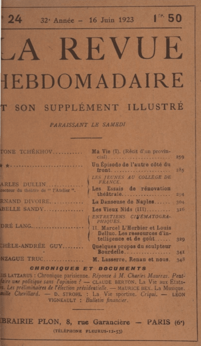 La Revue Hebdomadaire du 16 juin 1923