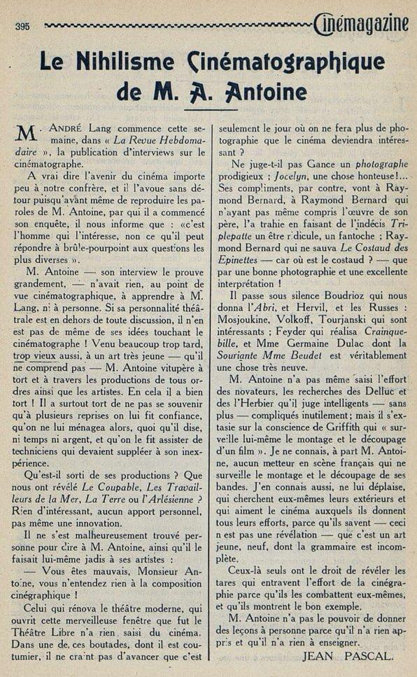 Cinémagazine du 8 juin 1923