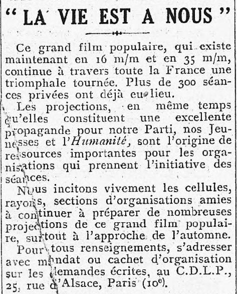 L'Humanité du 16 septembre 1936