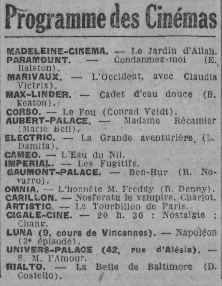 Paris-Soir du 20 octobre 1928