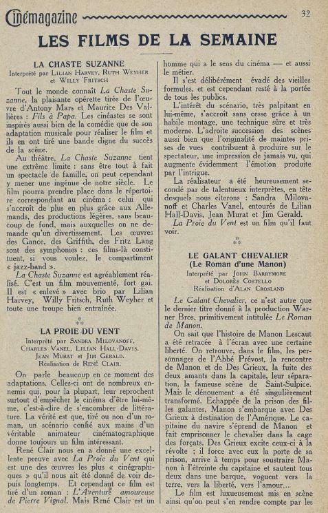 Cinémagazine du 07 octobre 1927
