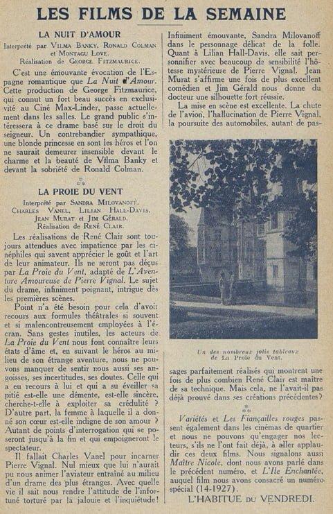 Cinémagazine du 20 mai 1927
