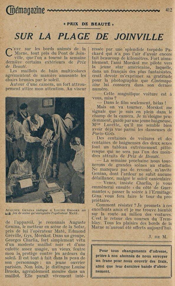 Cinémagazine du 20 Septembre 1929