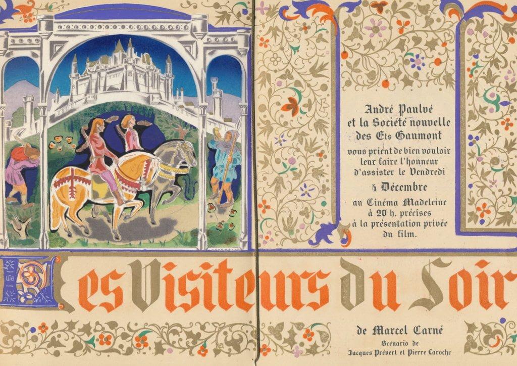 Le Carton d'invitation à la première des Visiteurs du soir au cinéma Madeleine.
