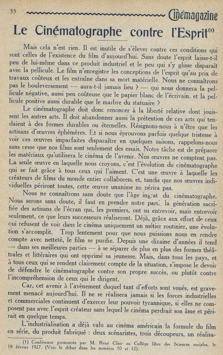 Cinémagazine du 1 avril 1927
