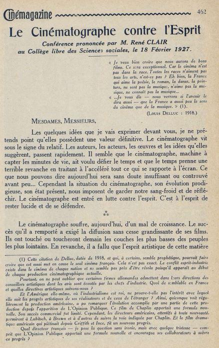 Cinémagazine du 11 mars 1927
