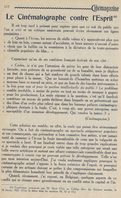 Cinémagazine du 15 avril 1927