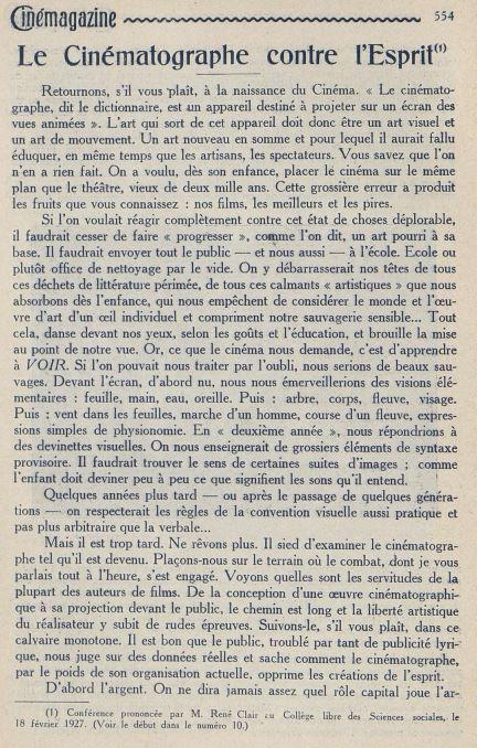 Cinémagazine du 25 mars 1927