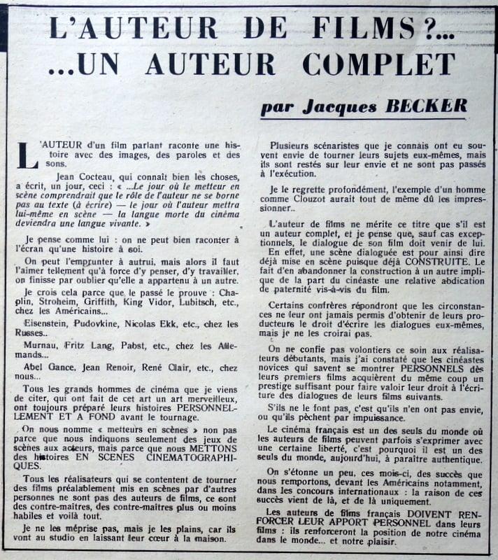 L'Ecran Français du 4 Novembre 1947