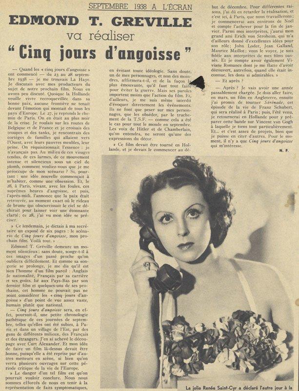 Pour Vous du 30 Novembre 1938