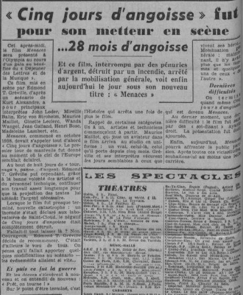 Paris-Soir du 14 janvier 1940