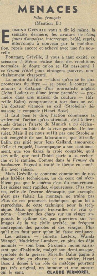 Pour Vous du 24 Janvier 1940