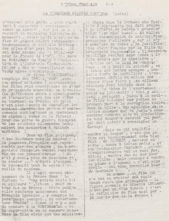 L'Ecran Français n°1 daté de décembre 1943