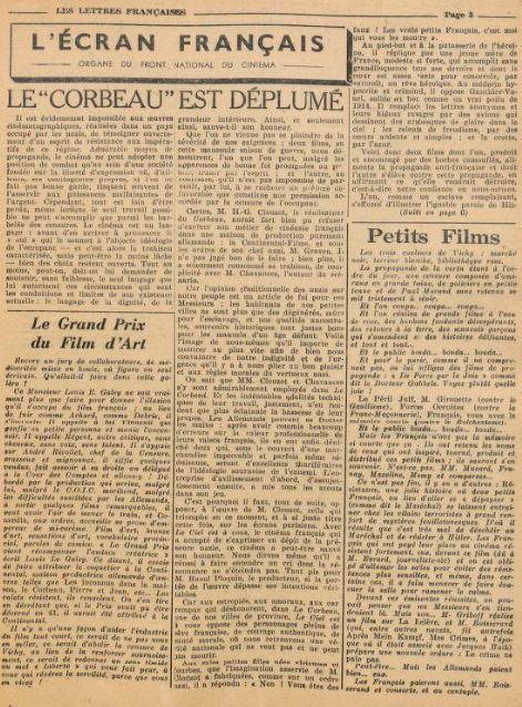Les Lettres Françaises daté demars 1944