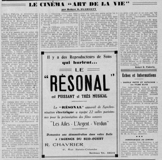 paru dans Bordeaux-Ciné du 19 juillet 1929