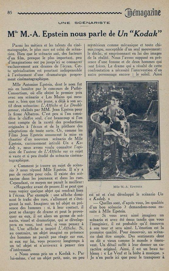 paru dans Cinémagazine du 8 octobre 1926
