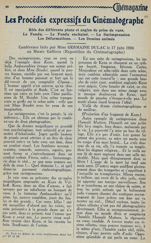 paru dans Cinémagazine du 18 Juillet 1924