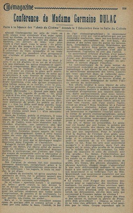 paru dans Cinémagazine du 19 Décembre 1924
