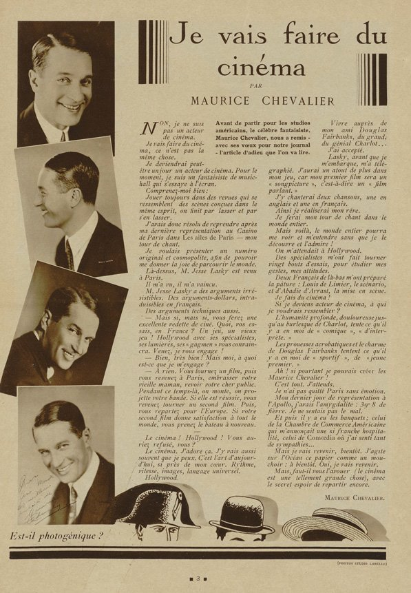 paru dans Cinémonde du 26 octobre 1928