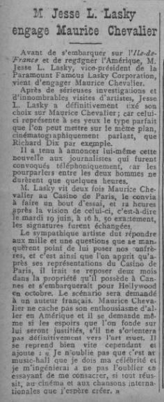 Paru dans Comoedia du 20 juin 1928