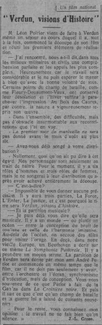 paru dans Comoedia du 10 juin 1927