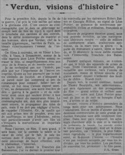paru dans Comoedia du 19 août 1927