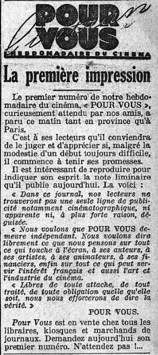 paru dans L'Intransigeant du 23 novembre 1928