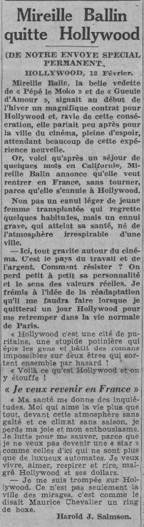 paru dans Paris-Soir du13 février 1938