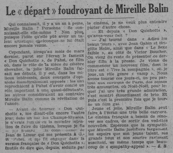 paru dans Paris-Soir du 21 octobre 1933