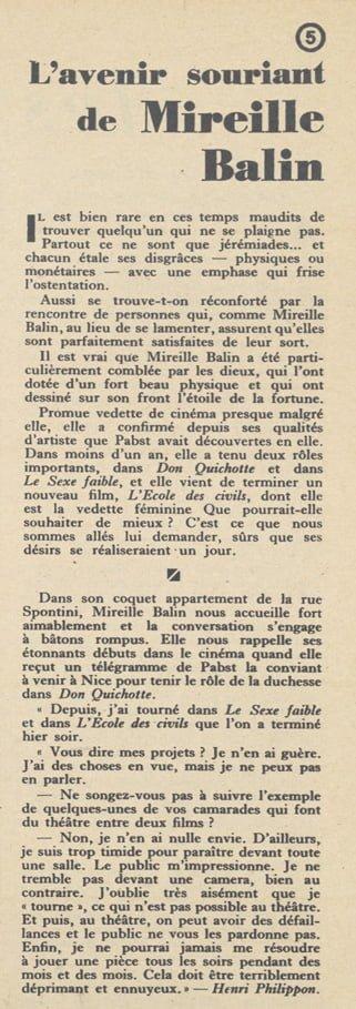 paru dans Pour Vous du 2 Novembre 1933