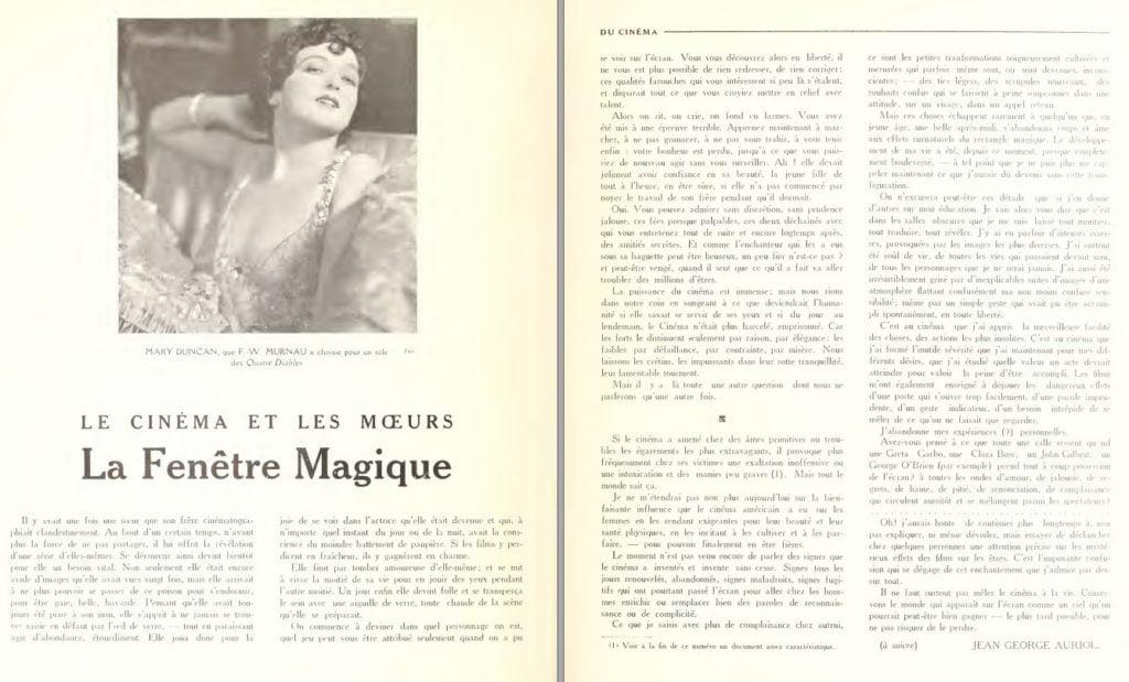paru dans Du Cinéma - décembre 1928