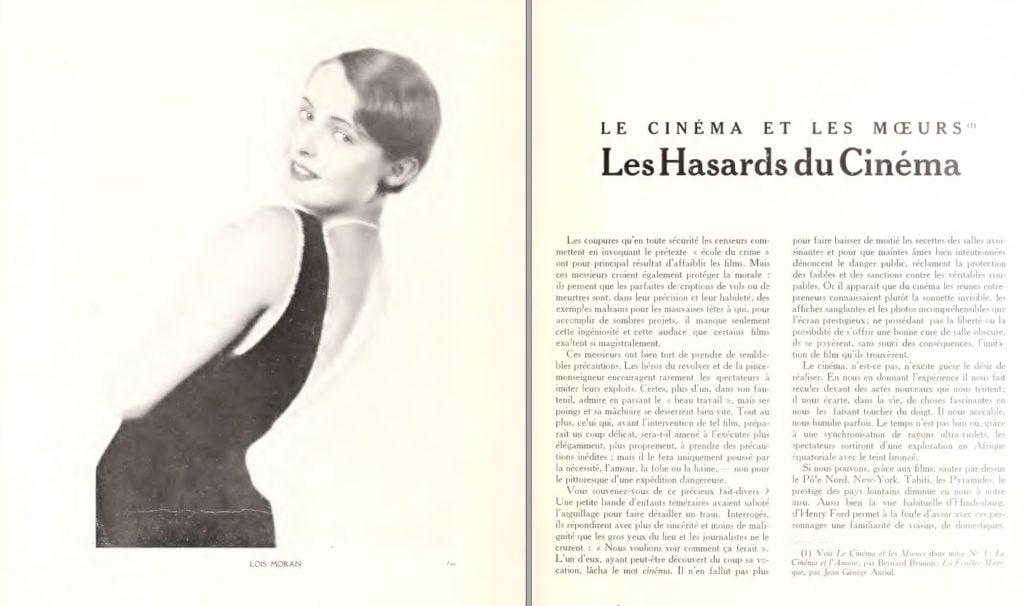 paru dans Du Cinéma - février 1929